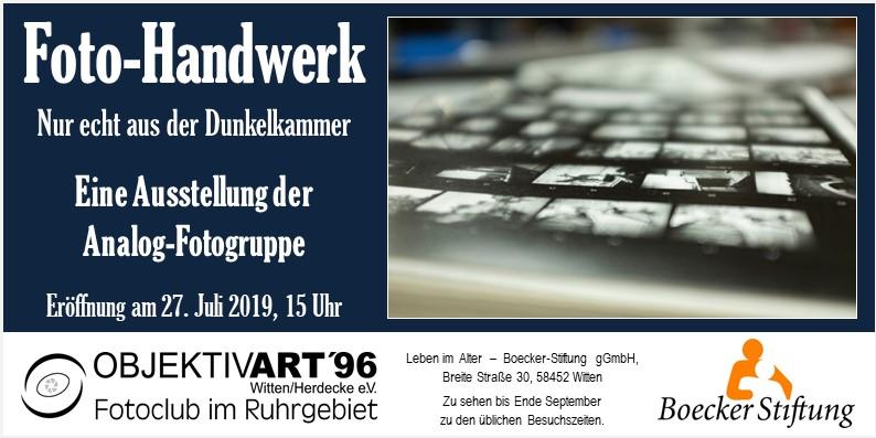 """Foto-Handwerk – Eine Ausstellung der Themengruppe Analog S/W in der Boecker Sftung """"Leben im Alter"""""""